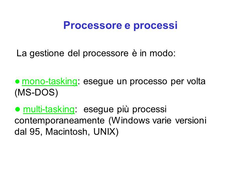 Processore e processi La gestione del processore è in modo: mono-tasking: esegue un processo per volta (MS-DOS) multi-tasking: esegue più processi con