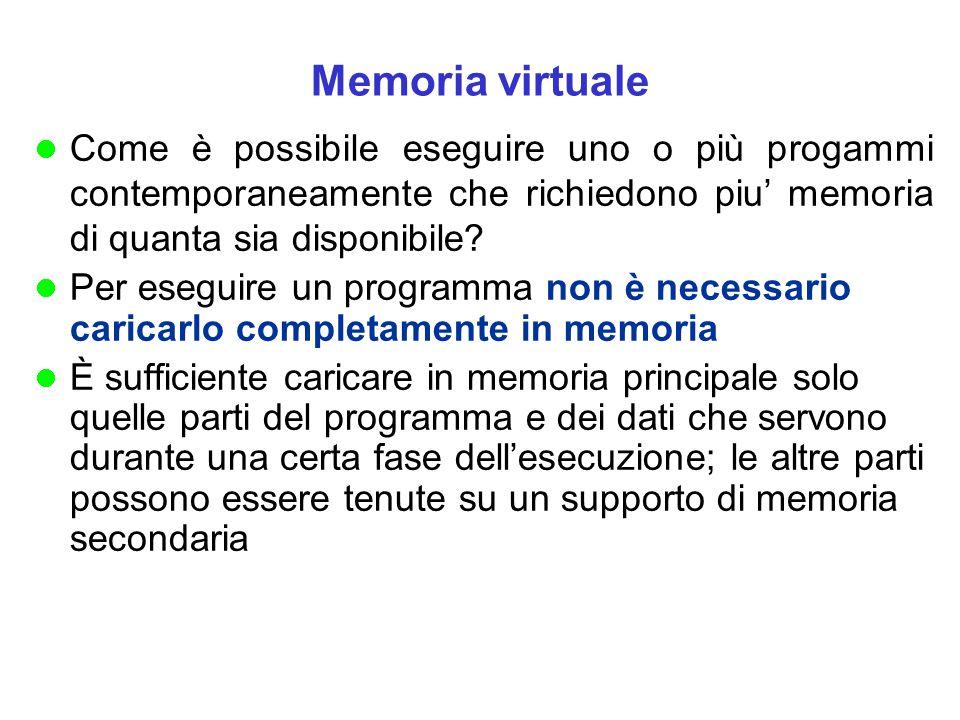Memoria virtuale Come è possibile eseguire uno o più progammi contemporaneamente che richiedono piu' memoria di quanta sia disponibile? Per eseguire u