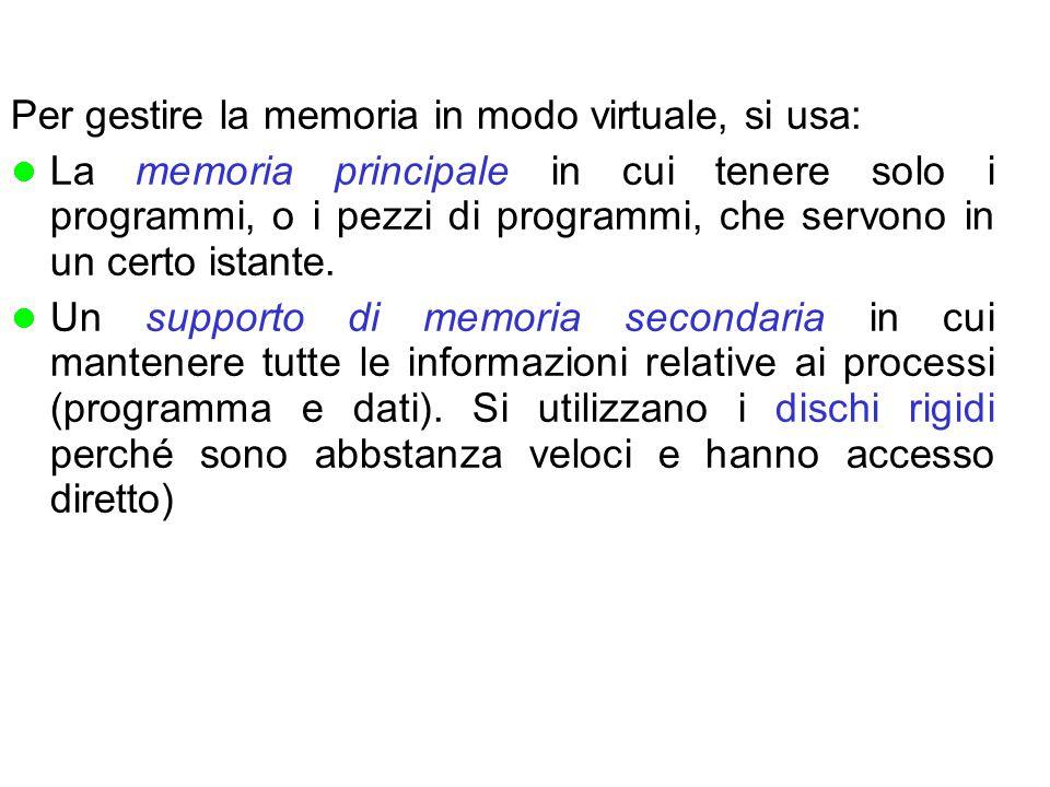 Per gestire la memoria in modo virtuale, si usa: La memoria principale in cui tenere solo i programmi, o i pezzi di programmi, che servono in un certo