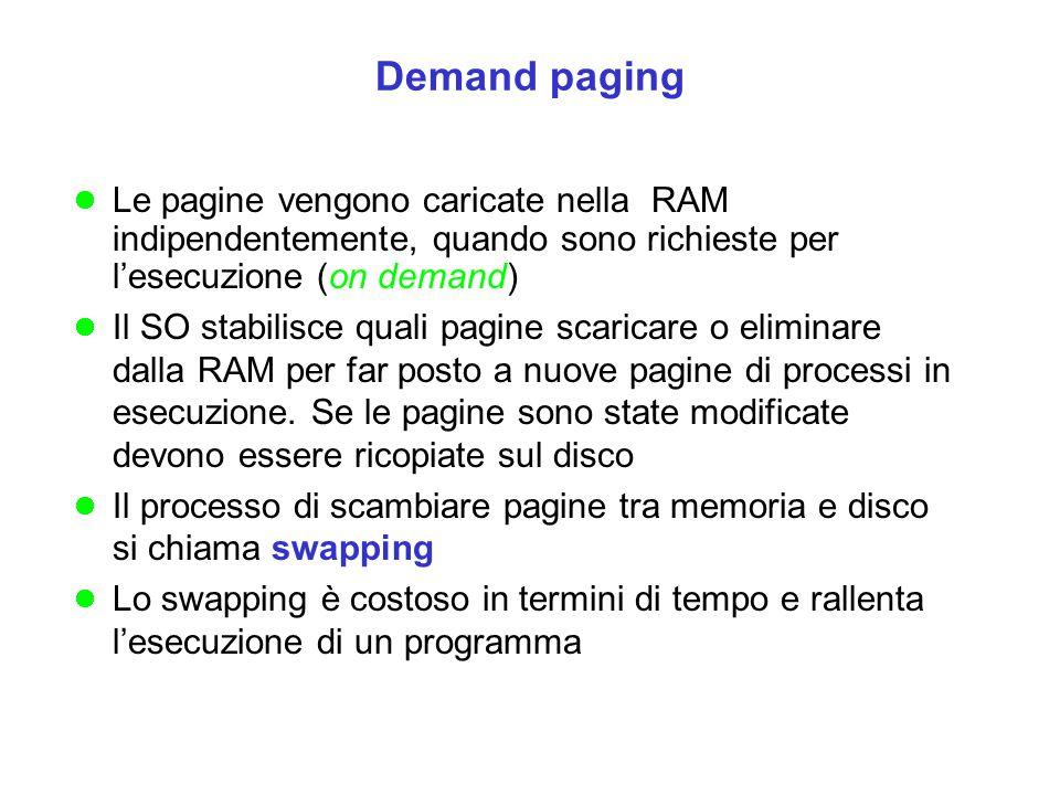 Le pagine vengono caricate nella RAM indipendentemente, quando sono richieste per l'esecuzione (on demand) Il SO stabilisce quali pagine scaricare o e
