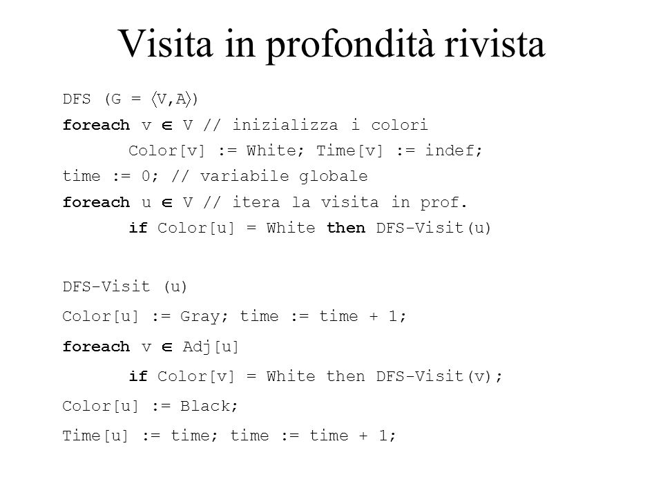 Visita in profondità rivista DFS (G =  V,A  ) foreach v  V // inizializza i colori Color[v] := White; Time[v] := indef; time := 0; // variabile glo