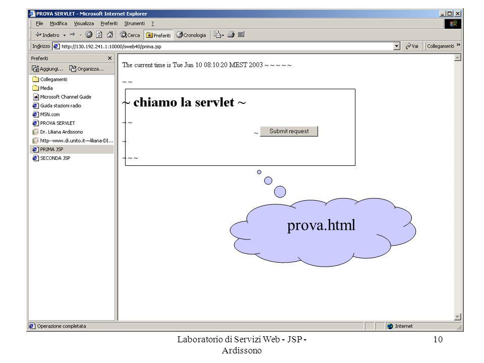 Laboratorio di Servizi Web - JSP - Ardissono 10 prova.html