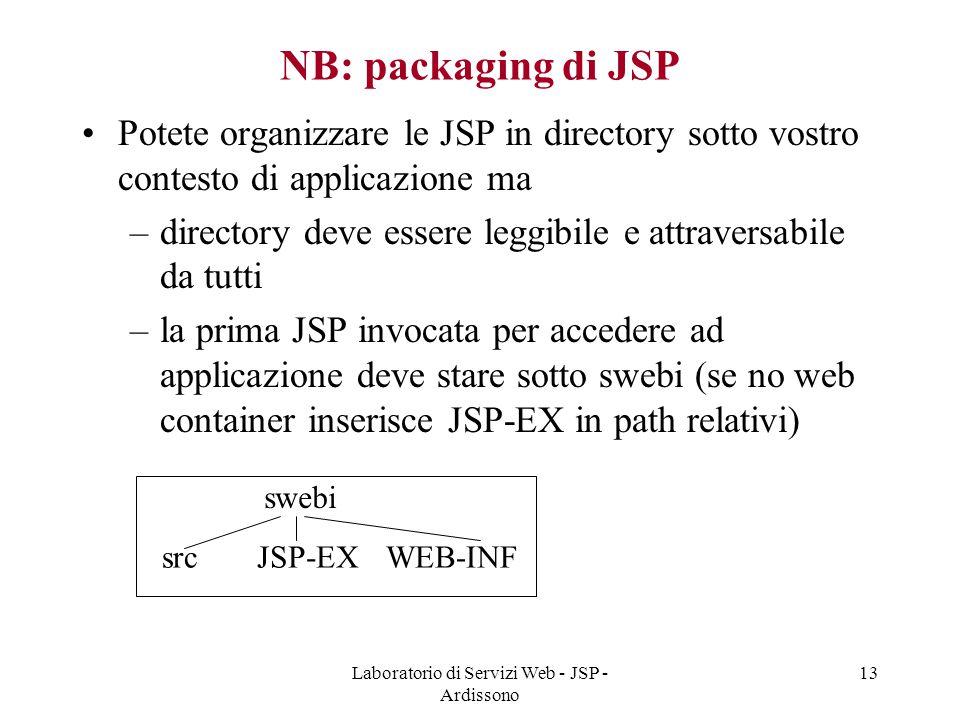 Laboratorio di Servizi Web - JSP - Ardissono 13 NB: packaging di JSP Potete organizzare le JSP in directory sotto vostro contesto di applicazione ma –