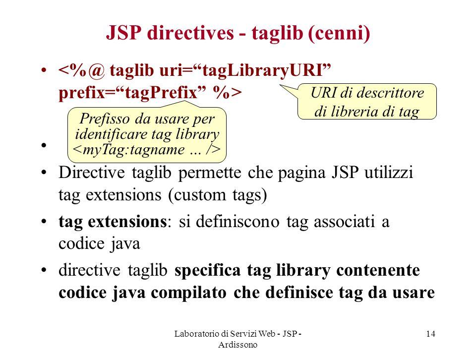 Laboratorio di Servizi Web - JSP - Ardissono 14 JSP directives - taglib (cenni) Directive taglib permette che pagina JSP utilizzi tag extensions (cust