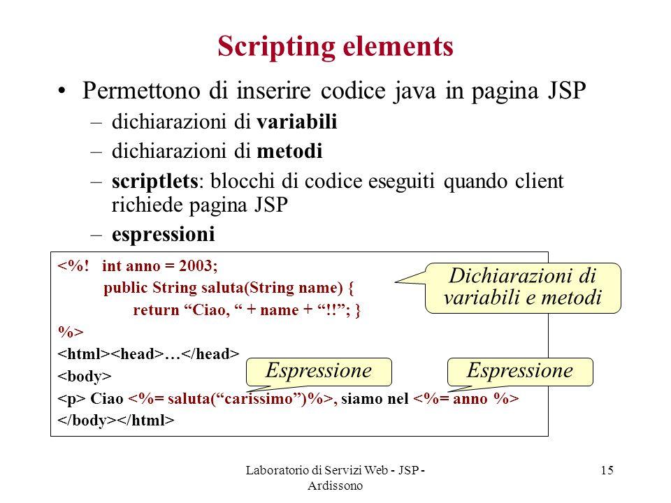 Laboratorio di Servizi Web - JSP - Ardissono 15 Scripting elements Permettono di inserire codice java in pagina JSP –dichiarazioni di variabili –dichi
