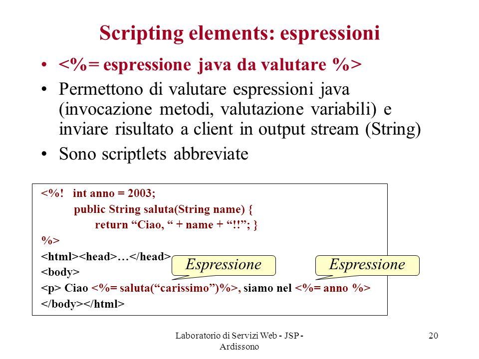 Laboratorio di Servizi Web - JSP - Ardissono 20 Scripting elements: espressioni Permettono di valutare espressioni java (invocazione metodi, valutazio