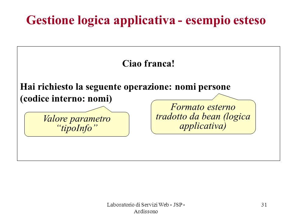 Laboratorio di Servizi Web - JSP - Ardissono 31 Gestione logica applicativa - esempio esteso Ciao franca! Hai richiesto la seguente operazione: nomi p