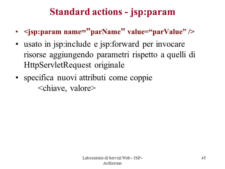 Laboratorio di Servizi Web - JSP - Ardissono 45 Standard actions - jsp:param usato in jsp:include e jsp:forward per invocare risorse aggiungendo param