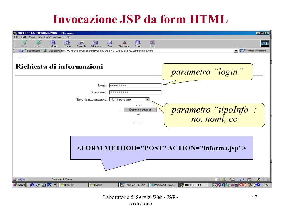 """Laboratorio di Servizi Web - JSP - Ardissono 47 Invocazione JSP da form HTML parametro """"login"""" parametro """"tipoInfo"""": no, nomi, cc"""
