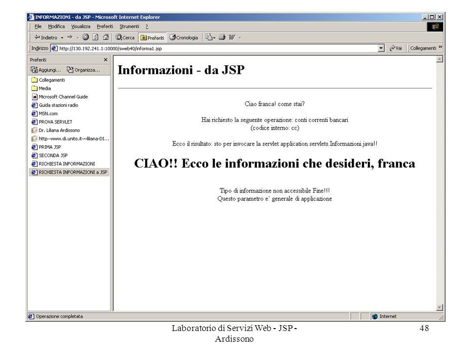 Laboratorio di Servizi Web - JSP - Ardissono 48