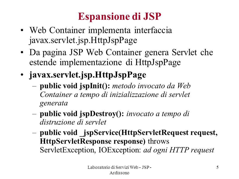 Laboratorio di Servizi Web - JSP - Ardissono 5 Espansione di JSP Web Container implementa interfaccia javax.servlet.jsp.HttpJspPage Da pagina JSP Web