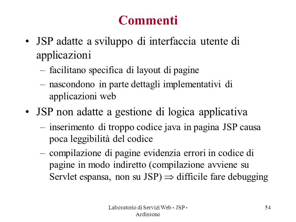 Laboratorio di Servizi Web - JSP - Ardissono 54 Commenti JSP adatte a sviluppo di interfaccia utente di applicazioni –facilitano specifica di layout d