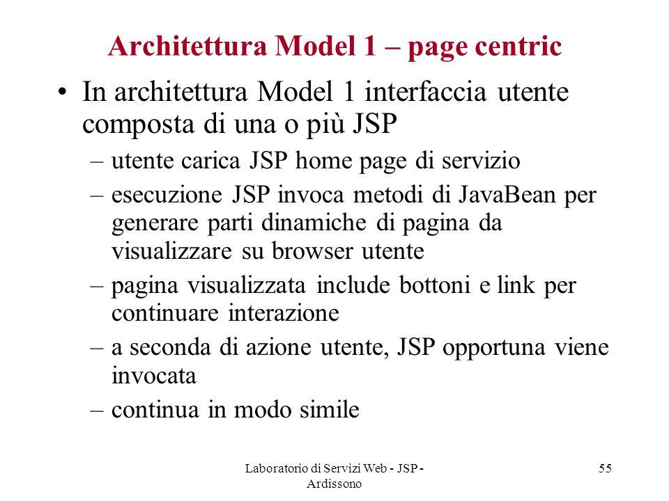 Laboratorio di Servizi Web - JSP - Ardissono 55 Architettura Model 1 – page centric In architettura Model 1 interfaccia utente composta di una o più J