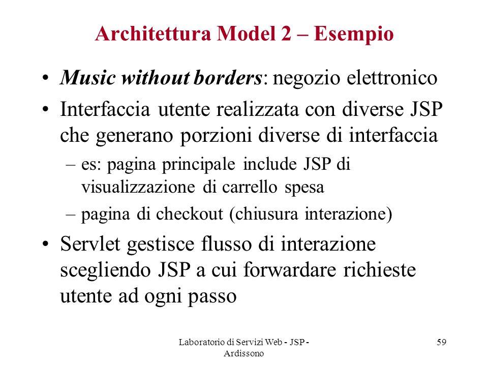 Laboratorio di Servizi Web - JSP - Ardissono 59 Architettura Model 2 – Esempio Music without borders: negozio elettronico Interfaccia utente realizzat