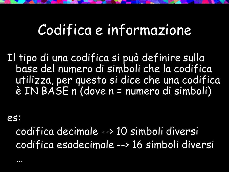 Codifica e informazione Il tipo di una codifica si può definire sulla base del numero di simboli che la codifica utilizza, per questo si dice che una