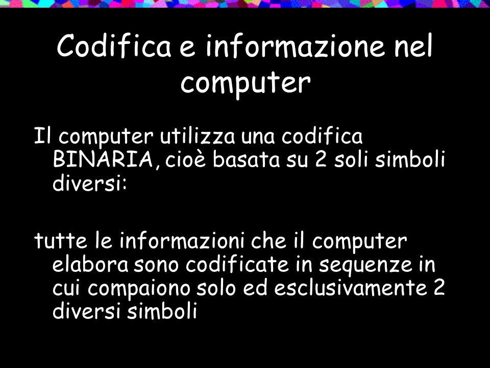 Codifica e informazione nel computer Il computer utilizza una codifica BINARIA, cioè basata su 2 soli simboli diversi: tutte le informazioni che il co