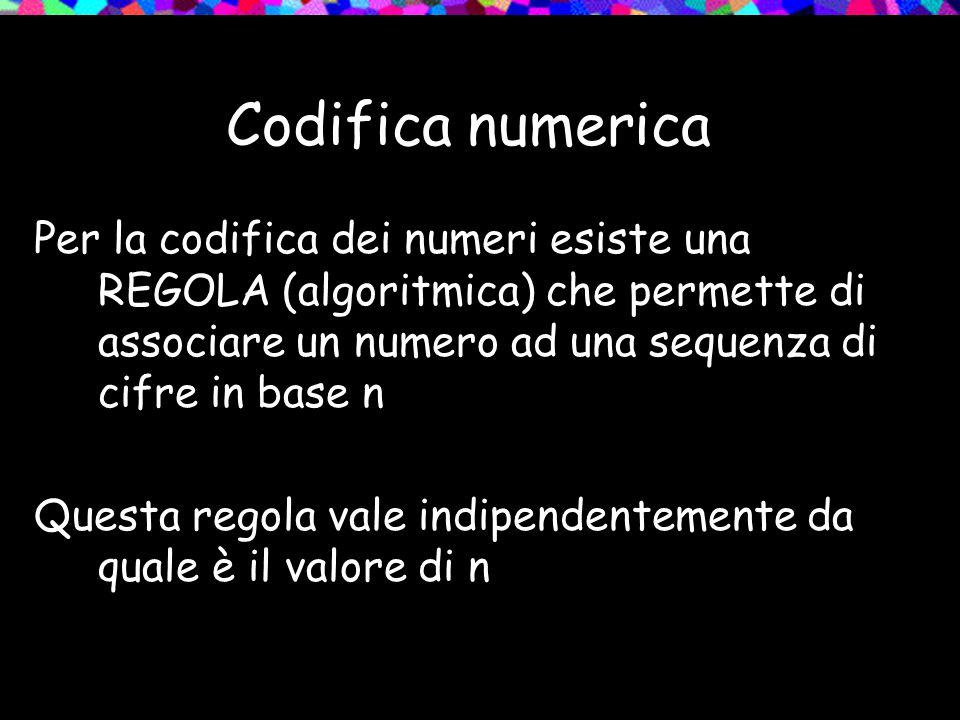 Codifica numerica Per la codifica dei numeri esiste una REGOLA (algoritmica) che permette di associare un numero ad una sequenza di cifre in base n Qu