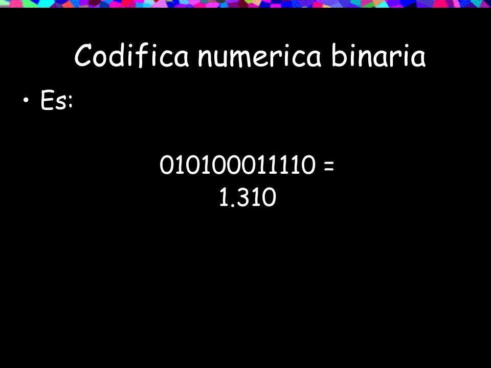 Codifica numerica binaria Es: 010100011110 = 1.310