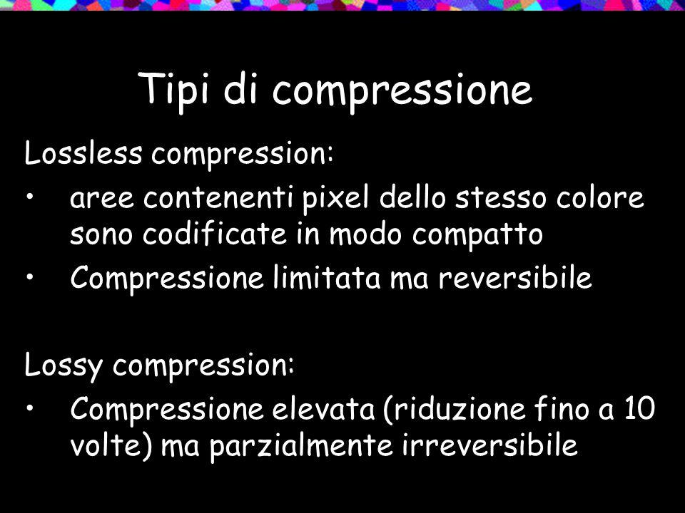 Tipi di compressione Lossless compression: aree contenenti pixel dello stesso colore sono codificate in modo compatto Compressione limitata ma reversi