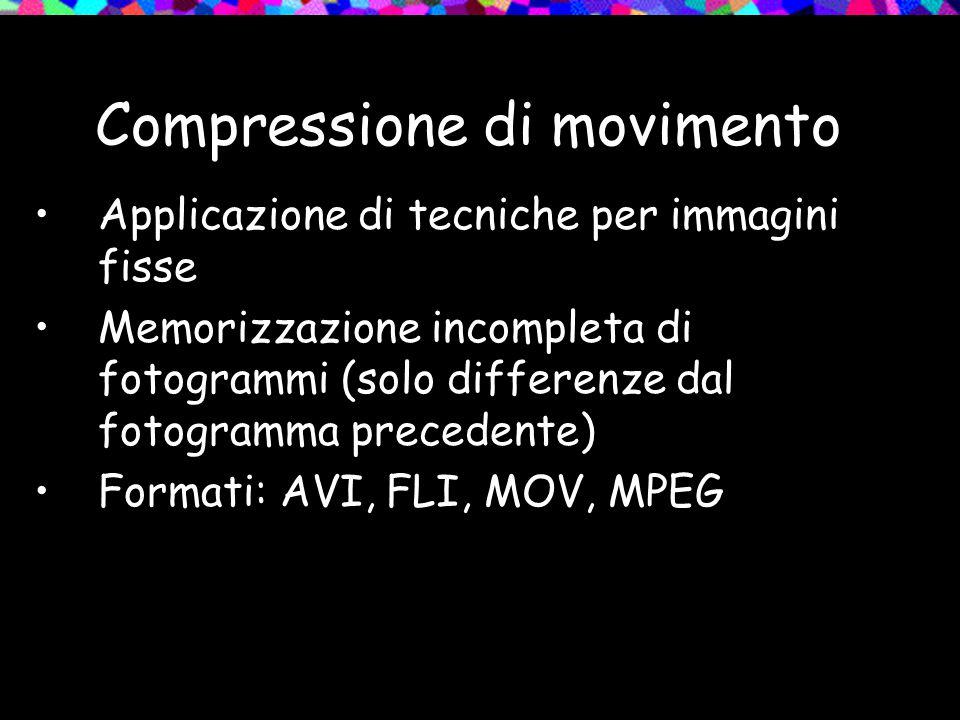 Compressione di movimento Applicazione di tecniche per immagini fisse Memorizzazione incompleta di fotogrammi (solo differenze dal fotogramma preceden