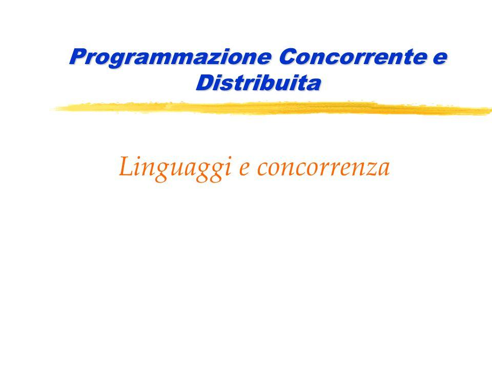 PCD 2006-2007Linguaggi e concorrenza42 Programmazione concorrente e distribuita Esprimere la concorrenza zLa coroutine è costituita da: yun insieme di dati locali yinsieme di istruzioni ( body ) zNel body ci può essere l'istruzione : resume X y X è il nome della coroutine chiamata yl'esecuzione della resume X trasferisce il controllo dalla coroutine chiamante alla coroutine X, previo salvataggio di contesto; y X viene attivata a partire dall'inizio (se è la prima volta che viene chiamata) oppure a partire dall'istruzione successiva all'ultimo resume da lei eseguito