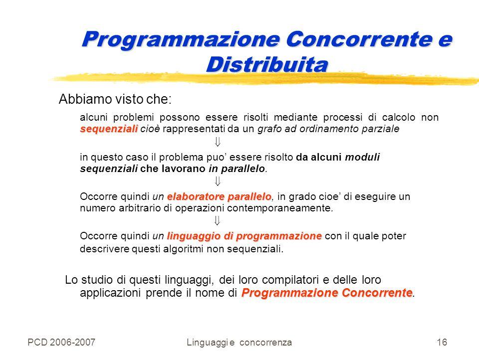 PCD 2006-2007Linguaggi e concorrenza16 Abbiamo visto che: sequenziali alcuni problemi possono essere risolti mediante processi di calcolo non sequenzi