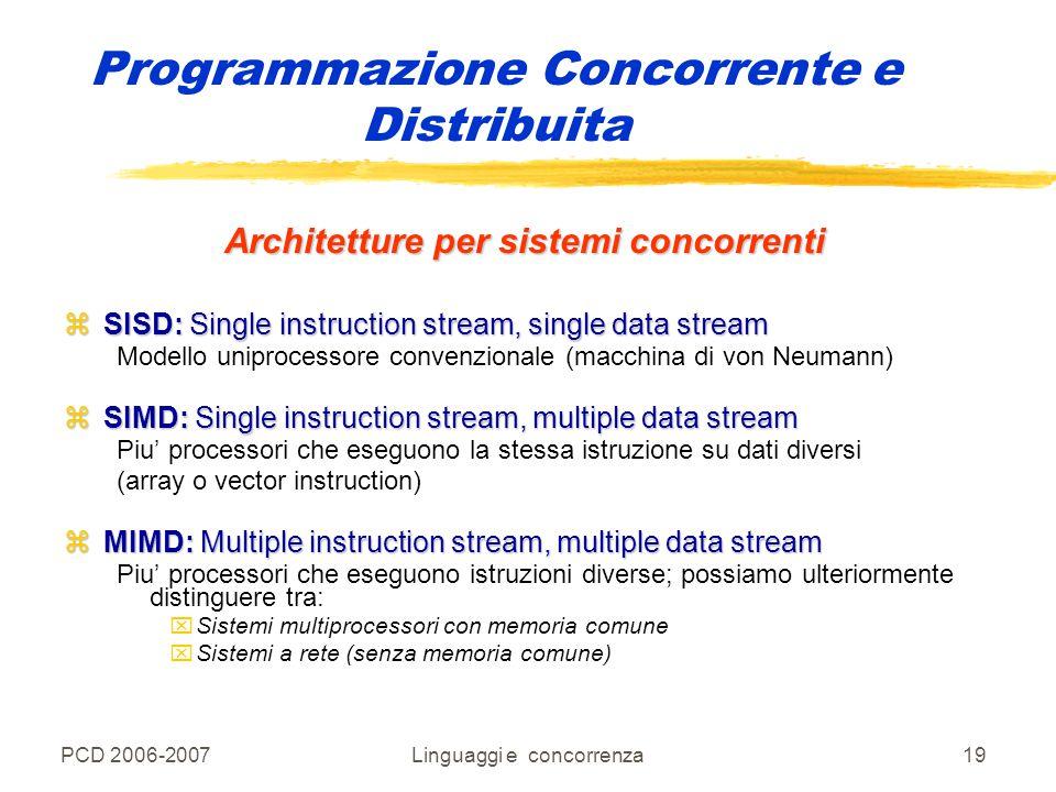 PCD 2006-2007Linguaggi e concorrenza19 Programmazione Concorrente e Distribuita Architetture per sistemi concorrenti zSISD: Single instruction stream,
