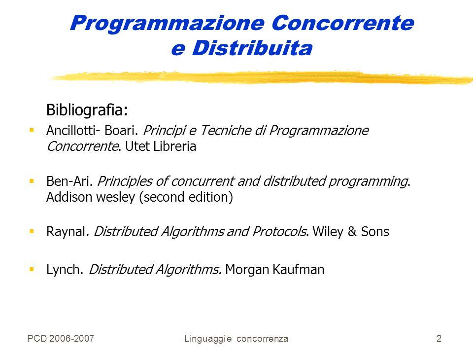 PCD 2006-2007Linguaggi e concorrenza23 Programmazione Concorrente e Distribuita po' di terminologia: Un po' di terminologia: zsistema parallelo: zsistema parallelo: sistema in cui l'esecuzione dei programmi si sovrappone nel tempo (parallelismo reale ) zsistema concorrente: zsistema concorrente: sistema in cui l'esecuzione dei programmi può (ma non necessariamente deve) sovrapporsi nel tempo (parallelismo apparente) concorrenza La concorrenza è una forma di astrazione del parallelismo e permette di trattare in maniera uniforme varie situazioni: yMultitasking di sistemi mono –processori ySistemi fortemente connessi (multiprocessori) ySistemi di rete