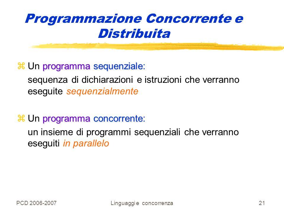 PCD 2006-2007Linguaggi e concorrenza21 Programmazione Concorrente e Distribuita programma sequenziale zUn programma sequenziale: sequenza di dichiaraz