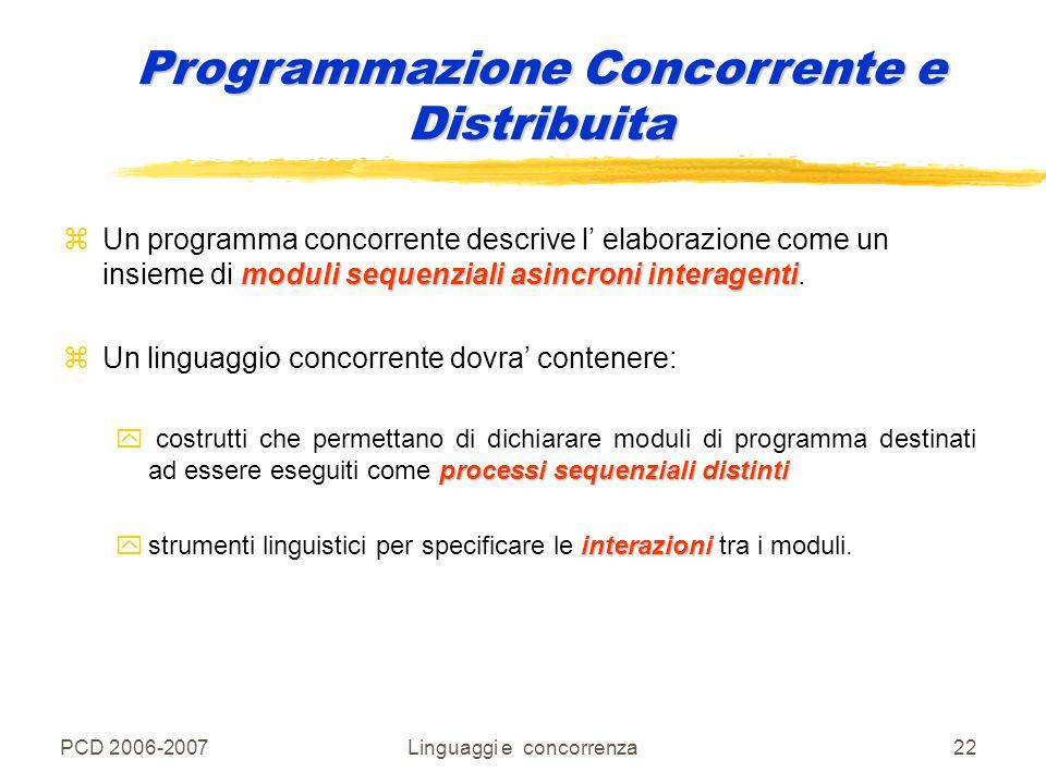 PCD 2006-2007Linguaggi e concorrenza22 moduli sequenziali asincroni interagenti zUn programma concorrente descrive l' elaborazione come un insieme di