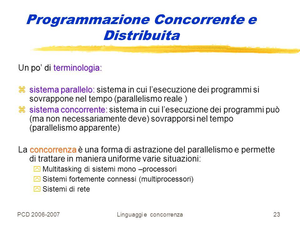 PCD 2006-2007Linguaggi e concorrenza23 Programmazione Concorrente e Distribuita po' di terminologia: Un po' di terminologia: zsistema parallelo: zsist