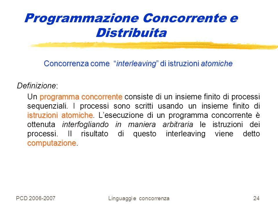 """PCD 2006-2007Linguaggi e concorrenza24 Programmazione Concorrente e Distribuita Concorrenza come """"interleaving"""" di istruzioni atomiche : Definizione:"""
