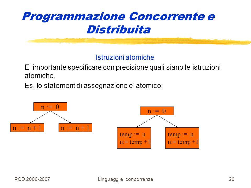 PCD 2006-2007Linguaggi e concorrenza26 Programmazione Concorrente e Distribuita Istruzioni atomiche E' importante specificare con precisione quali sia