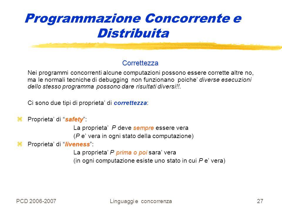 PCD 2006-2007Linguaggi e concorrenza27 Programmazione Concorrente e Distribuita Correttezza Nei programmi concorrenti alcune computazioni possono esse