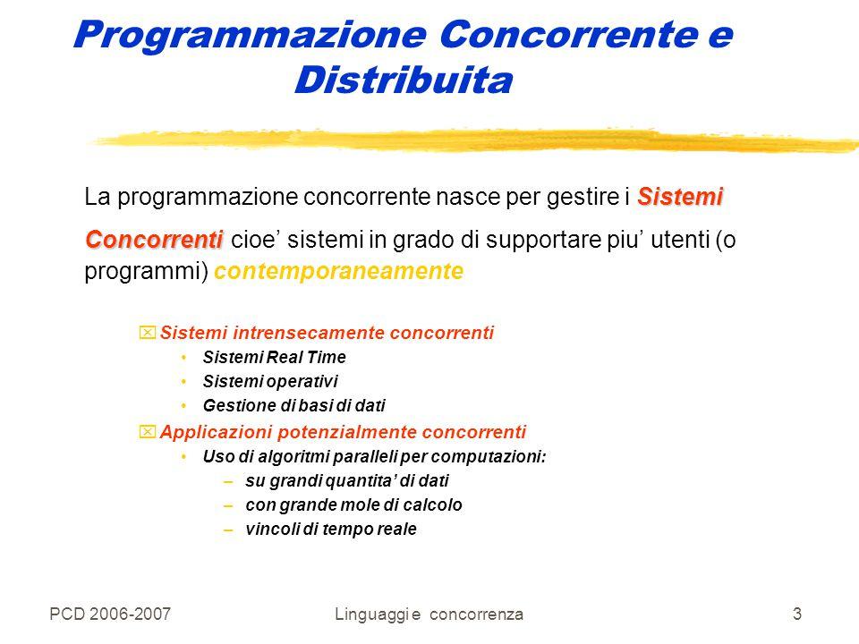 PCD 2006-2007Linguaggi e concorrenza34 Programmazione Concorrente e Distribuita zEsecuzione di un programma come processo ylinguaggio sequenziale: programmaun processo xun programma -> un processo ylinguaggio concorrente: programmapiù processi xun programma -> più processi