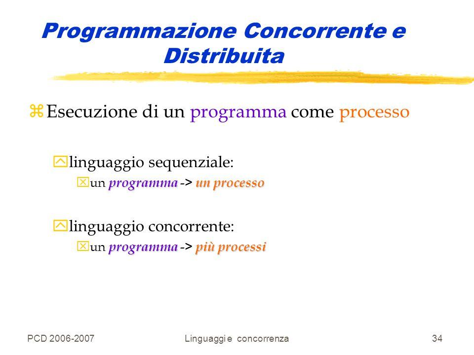 PCD 2006-2007Linguaggi e concorrenza34 Programmazione Concorrente e Distribuita zEsecuzione di un programma come processo ylinguaggio sequenziale: pro
