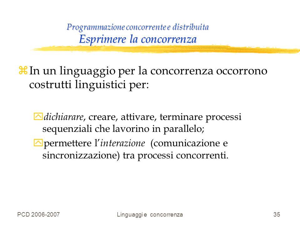 PCD 2006-2007Linguaggi e concorrenza35 Programmazione concorrente e distribuita Esprimere la concorrenza zIn un linguaggio per la concorrenza occorron