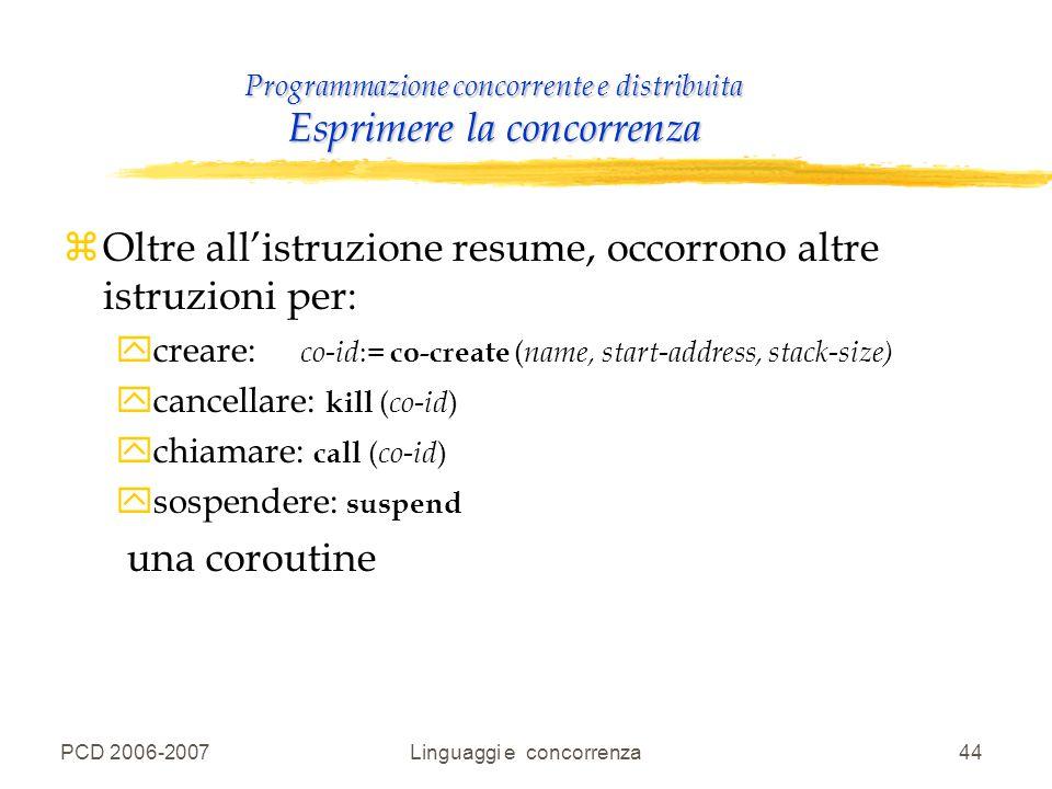 PCD 2006-2007Linguaggi e concorrenza44 Programmazione concorrente e distribuita Esprimere la concorrenza zOltre all'istruzione resume, occorrono altre