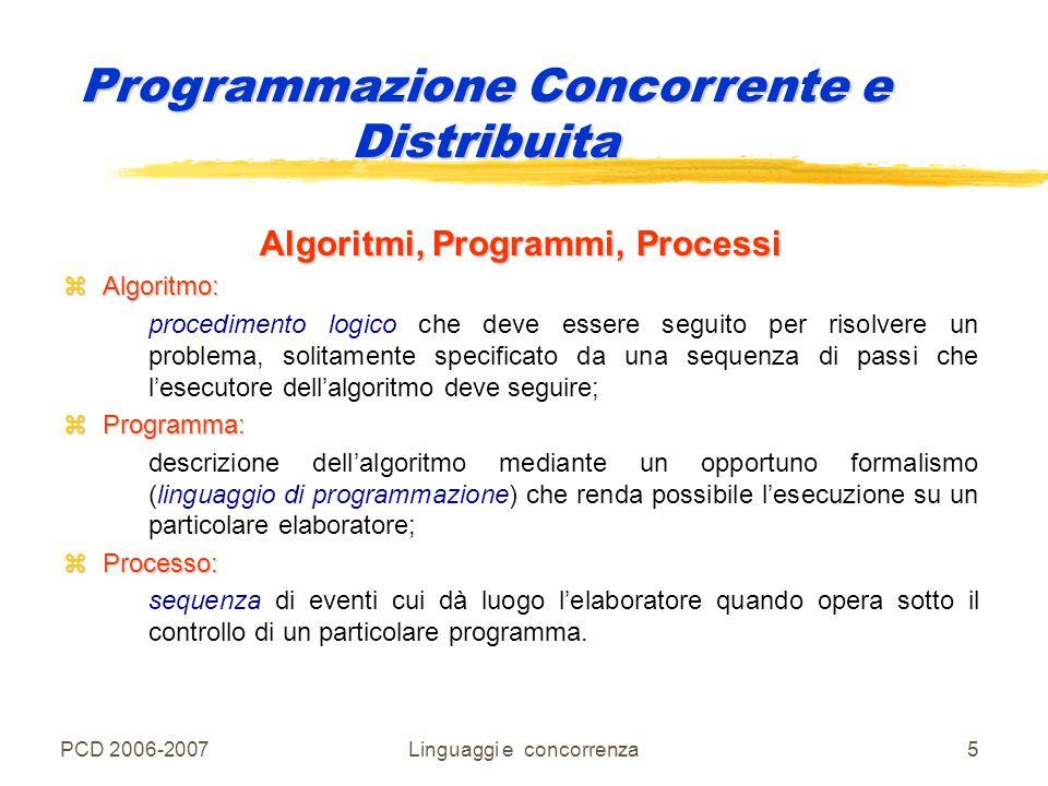 PCD 2006-2007Linguaggi e concorrenza46 Programmazione Concorrente e Distribuita 1 programma 1 processo Kernel del SO Sistema runtime del linguaggio 1 programma 1 processo Linguaggio di programmazione sequenziale: attività diverse nel codice utente Supporto runtime Gestione dello stack e dello heap Sistema runtime del linguaggio Codice per una procedura Codice per gestire procedure separate