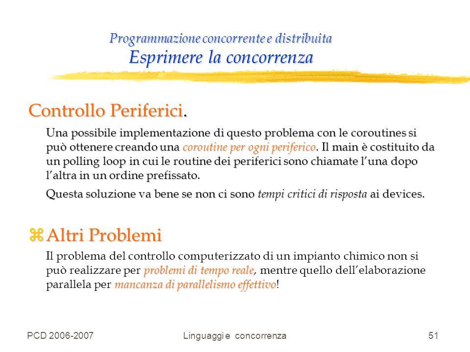 PCD 2006-2007Linguaggi e concorrenza51 Programmazione concorrente e distribuita Esprimere la concorrenza Controllo Periferici. Una possibile implement