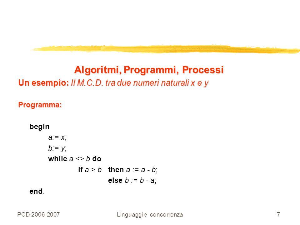 PCD 2006-2007Linguaggi e concorrenza7 Algoritmi, Programmi, Processi Un esempio: Il M.C.D. tra due numeri naturali x e y Programma: begin a:= x; b:= y