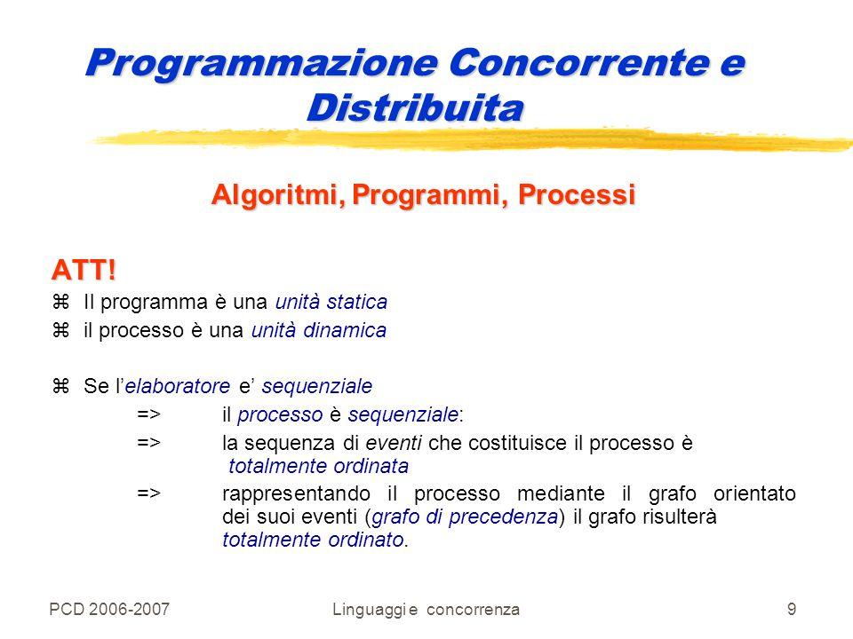 PCD 2006-2007Linguaggi e concorrenza20 Programmazione Concorrente e Distribuita La macchina su cui un programma concorrente deve andare in esecuzione deve quindi essere in grado di : multielaboratore yeseguire un certo numero n di processi sequenziali (n > 1) => la sua architettura deve essere quella di un multielaboratore meccanismi primitivi di sincronizzazione e/o di comunicazione ypermettere ai processi di sincronizzarsi => deve fornire meccanismi primitivi di sincronizzazione e/o di comunicazione, sfruttati dal compilatore per tradurre i costrutti linguistici di sincronizzazione fornite dal linguaggio ad alto livello.