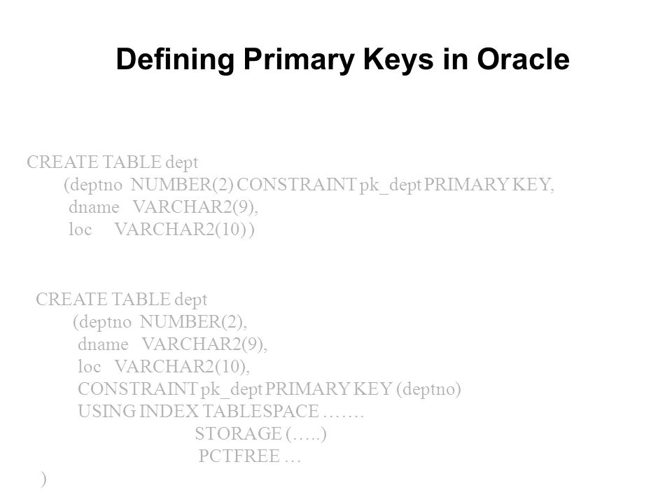 CREATE TABLE dept (deptno NUMBER(2) CONSTRAINT pk_dept PRIMARY KEY, dname VARCHAR2(9), loc VARCHAR2(10) ) Defining Primary Keys in Oracle CREATE TABLE
