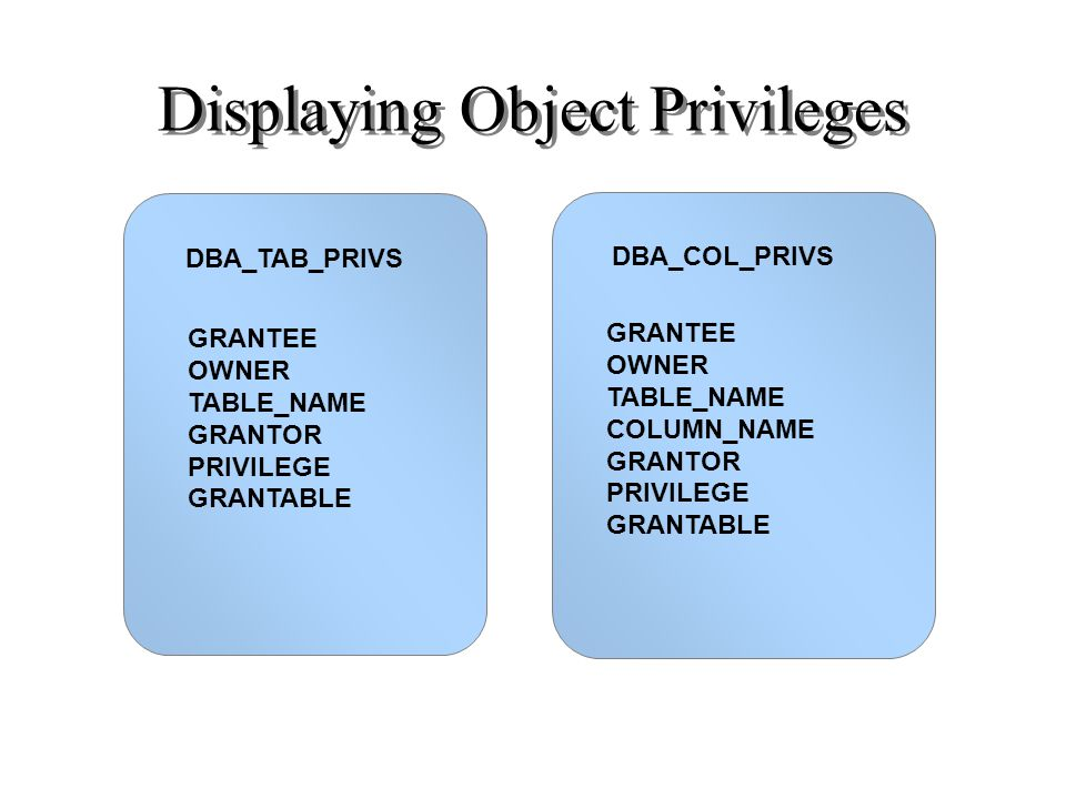 DBA_TAB_PRIVS Displaying Object Privileges DBA_COL_PRIVS GRANTEE OWNER TABLE_NAME GRANTOR PRIVILEGE GRANTABLE GRANTEE OWNER TABLE_NAME COLUMN_NAME GRA