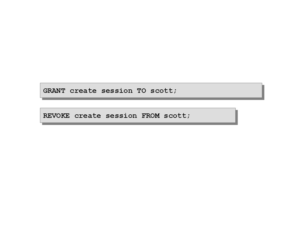 GRANT create session TO scott; REVOKE create session FROM scott;