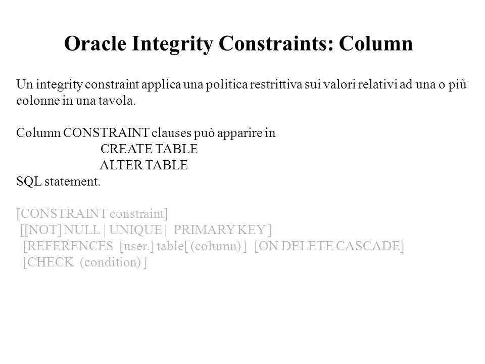 Un integrity constraint applica una politica restrittiva sui valori relativi ad una o più colonne in una tavola.