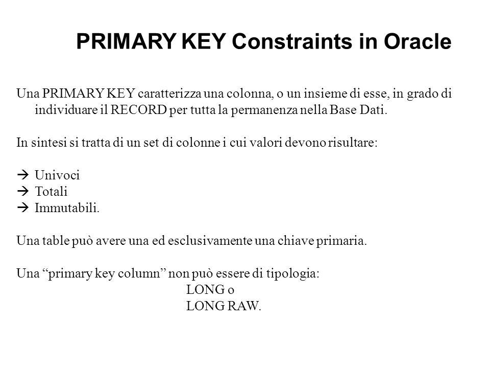 Una PRIMARY KEY caratterizza una colonna, o un insieme di esse, in grado di individuare il RECORD per tutta la permanenza nella Base Dati. In sintesi