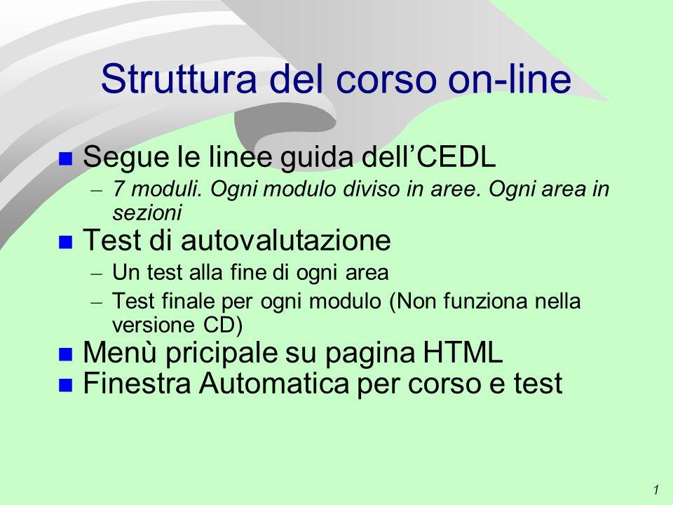 1 Struttura del corso on-line Segue le linee guida dell'CEDL – 7 moduli.