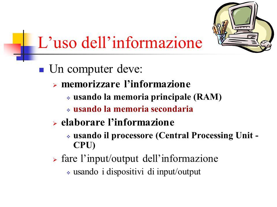 L'uso dell'informazione Un computer deve:  memorizzare l'informazione  usando la memoria principale (RAM)  usando la memoria secondaria  elaborare l'informazione  usando il processore (Central Processing Unit - CPU)  fare l'input/output dell'informazione  usando i dispositivi di input/output
