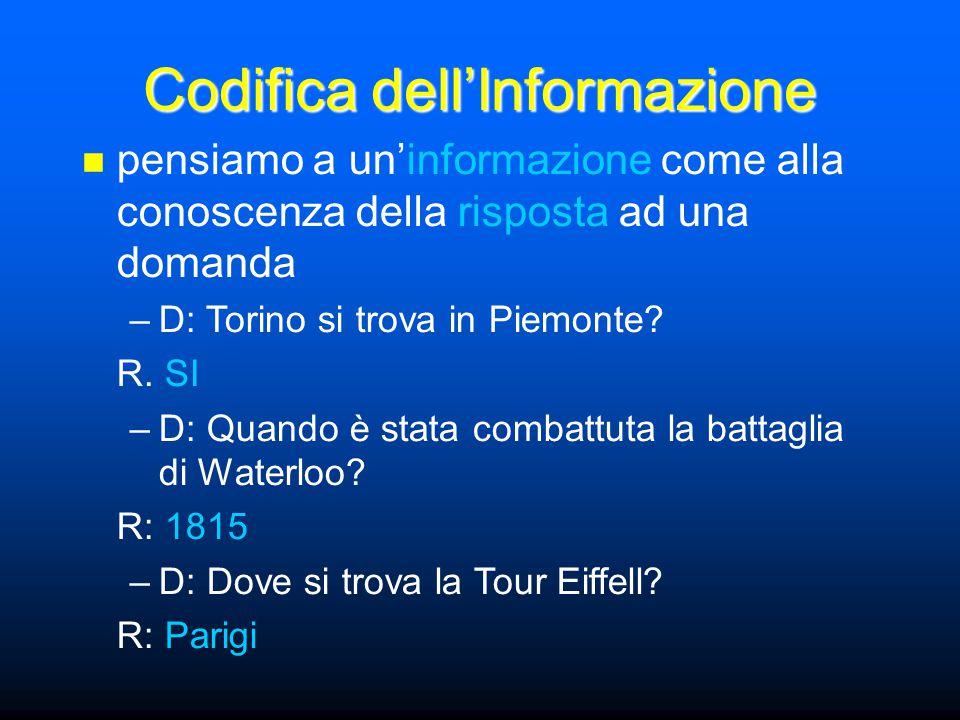 Codifica dell'Informazione pensiamo a un'informazione come alla conoscenza della risposta ad una domanda –D: Torino si trova in Piemonte? R. SI –D: Qu